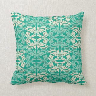 Decorative Flourishes Pattern- White And Green Pillows