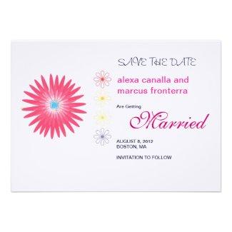Decorative Flower Bursts Wedding Save the Date Car Invitations