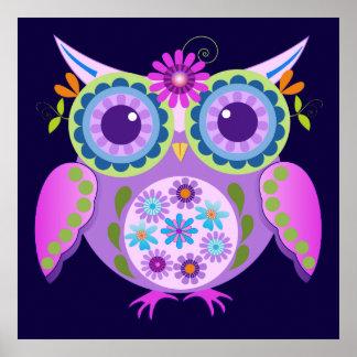 Decorative Flower power Owl Poster