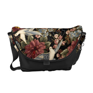 Decorative Flowers And Doves Messenger Bag