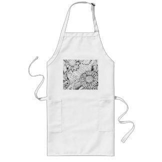 Decorative flowers long apron