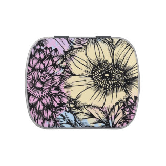 Decorative Flowers Pill Box or Candy Tin