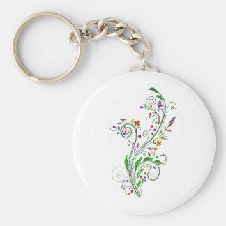 decorative flowers (Vintage) Basic Round Button Keychain