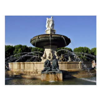 Decorative fountain with statues post card