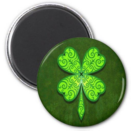 Decorative Four Leaf Clover 2 Inch Round Magnet
