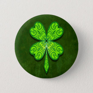 Decorative Four Leaf Clover Button