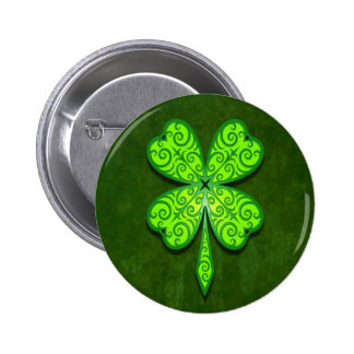 Decorative Four Leaf Clover Button