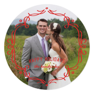 Decorative Frame Holiday Card - Red