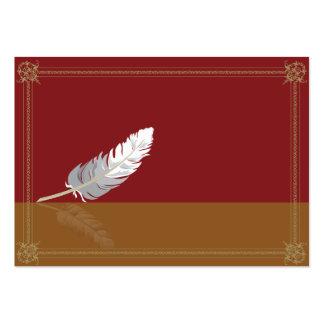 Decorative frame with a feather large business card