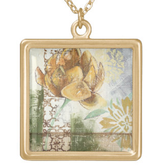 Decorative Fresco Design with Globe Flower Gold Plated Necklace