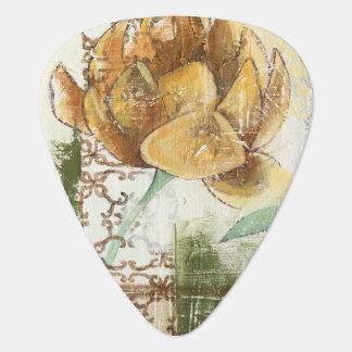 Decorative Fresco Design with Globe Flower Guitar Pick
