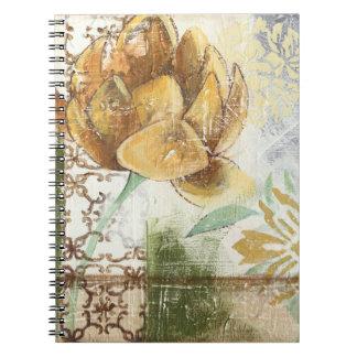 Decorative Fresco Design with Globe Flower Notebook