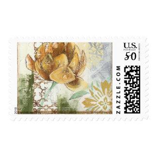Decorative Fresco Design with Globe Flower Postage