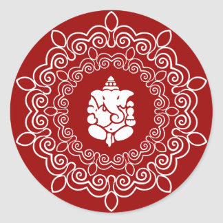 Decorative Ganesha Design Classic Round Sticker