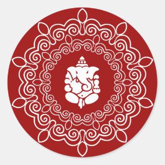 Decorative Ganesha Design Classic Round Sticker