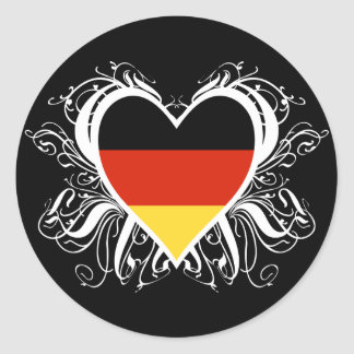 Decorative German Heart Classic Round Sticker