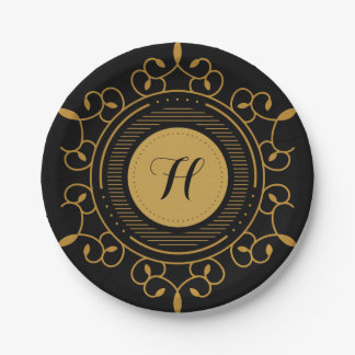 Decorative Gold and Black Scroll, Monogram Paper Plate