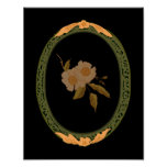 Decorative Gold And Green Frame Poster
