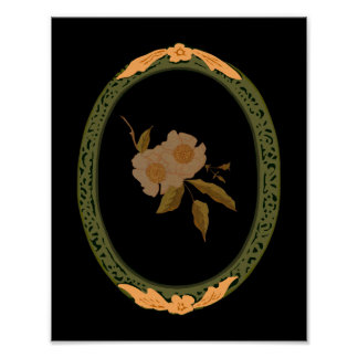 Decorative Gold And Green Frame Posters
