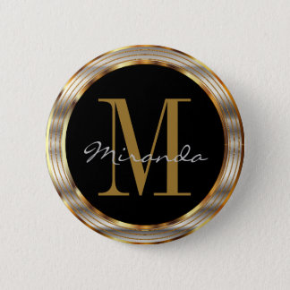 Decorative Gold and Silver Metallic with DIY Text Pinback Button