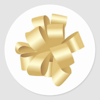 Decorative Gold Pulled Ribbon Bow Round Sticker