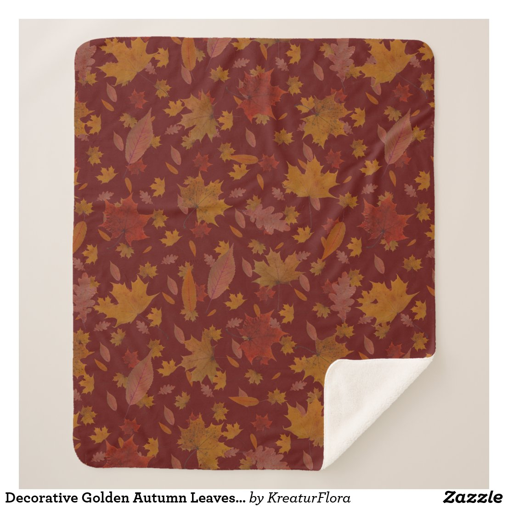 Decorative Golden Autumn Leaves on Custom Dark Red