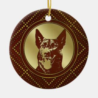 Decorative Golden Dutch Shepherd Design Ceramic Ornament