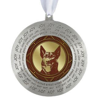 Decorative Golden Dutch Shepherd Design Pewter Ornament