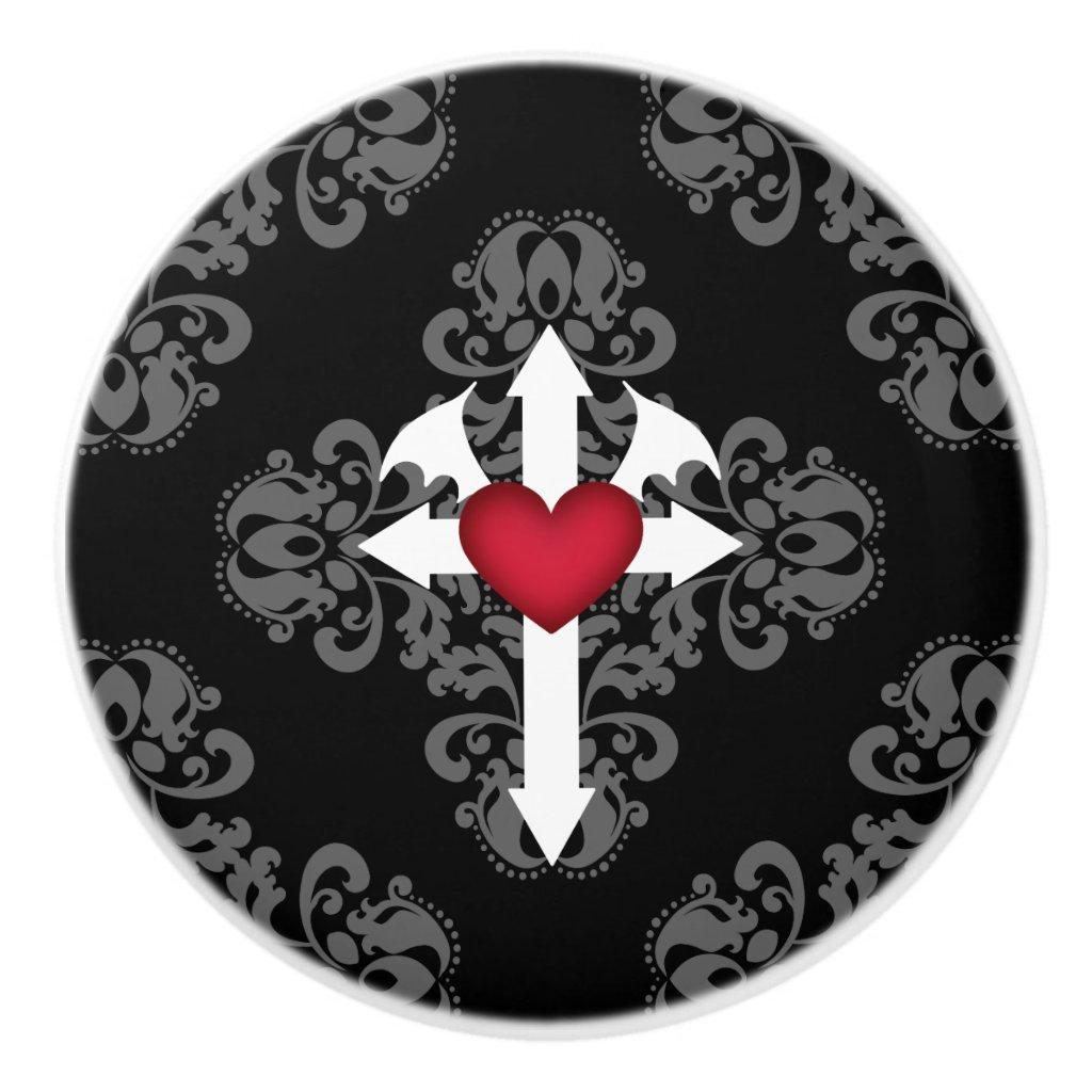 Decorative gothic style ceramic knob
