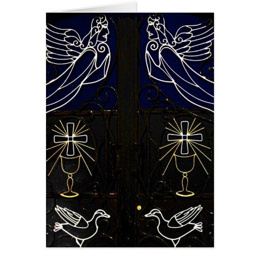 Decorative Greek Door with Angels, Birds and Cross Card