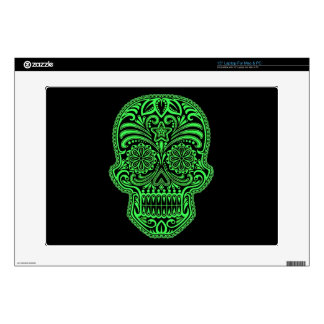 "Decorative Green and Black Sugar Skull 15"" Laptop Decal"