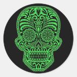 Decorative Green and Black Sugar Skull Classic Round Sticker