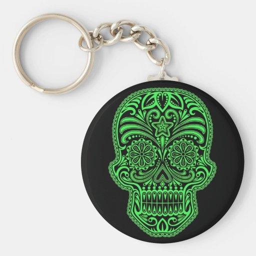 Decorative Green and Black Sugar Skull Key Chain