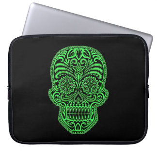 Decorative Green and Black Sugar Skull Computer Sleeve