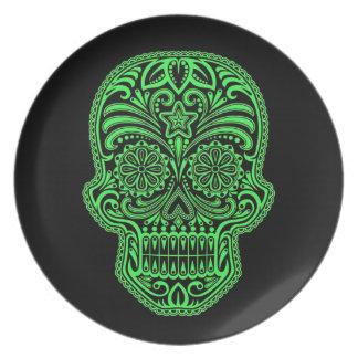 Decorative Green and Black Sugar Skull Plate