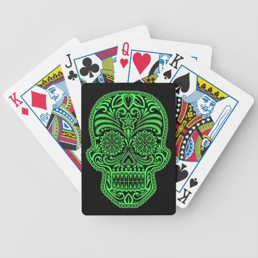 Decorative Green and Black Sugar Skull Bicycle Playing Cards