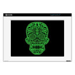Decorative Green and Black Sugar Skull Skin For Laptop
