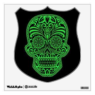 Decorative Green and Black Sugar Skull Room Sticker