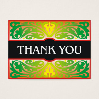 Decorative green and black thank you card