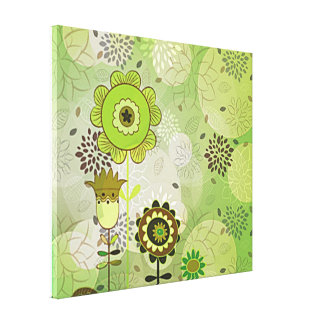 Decorative Green Mural Stretched Canvas Print