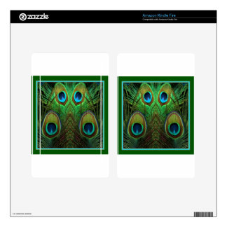 Decorative Green Peacock Feather Eyes Kindle Fire Decal