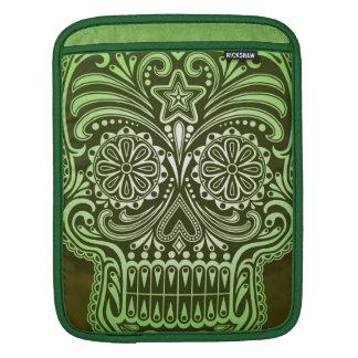 Decorative Green Sugar Skull iPad Sleeves