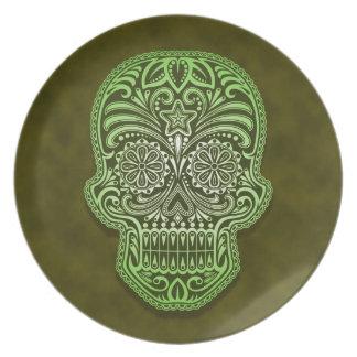 Decorative Green Sugar Skull Dinner Plate