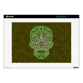 Decorative Green Sugar Skull Skins For Laptops