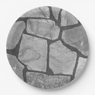 Decorative Grey Stone Paving Look Paper Plate