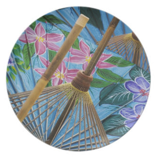 Decorative hand painted umbrellas in the village plate