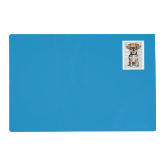 DECORATIVE HAPPY CHIHUAHUA PLACEMAT IN BLUE