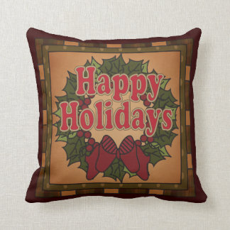 Decorative Happy Holiday Christmas Wreath Throw Pillow