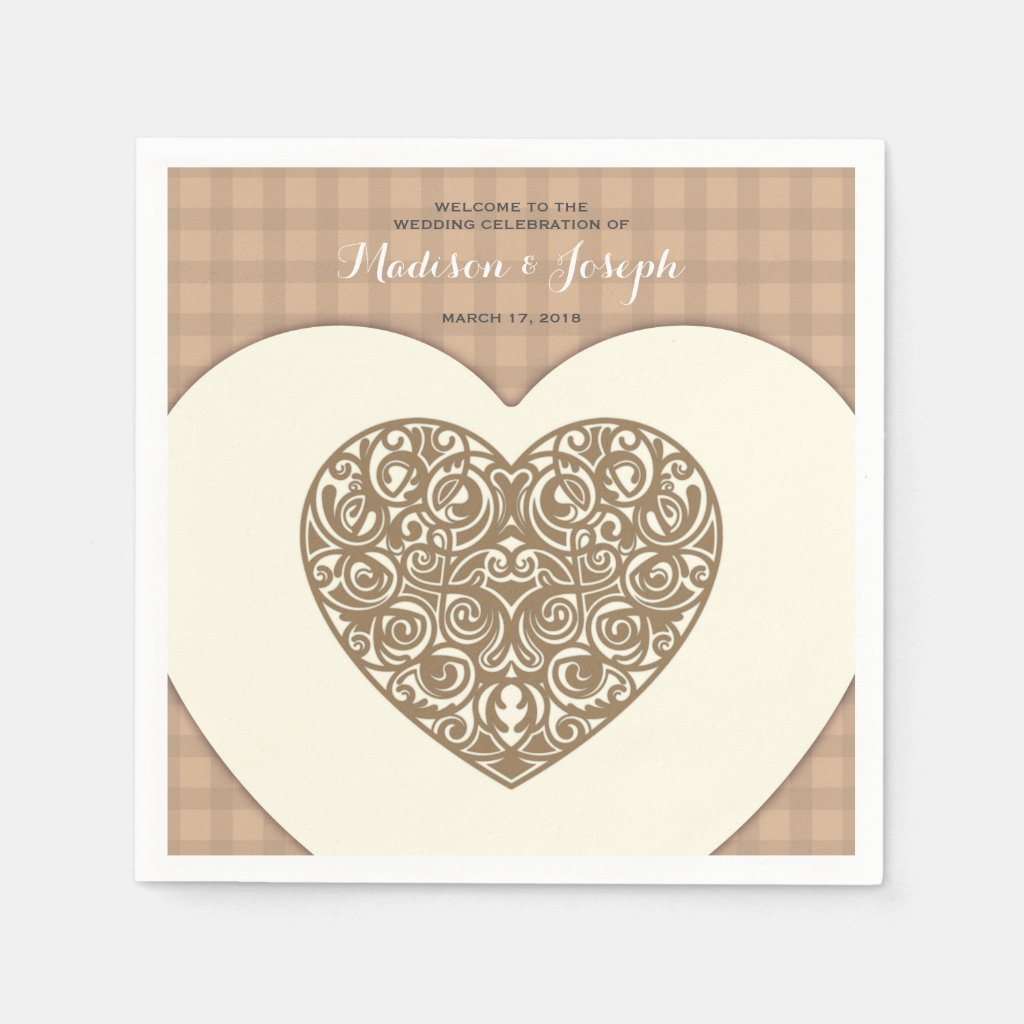 Decorative hearts ornamental wedding paper napkin