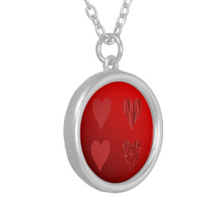 Decorative Hearts Two Tone Red Silver Plated Necklace